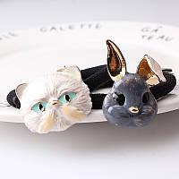 Детские резинки  с фигурками зайца и кота поштучно(серый и коричневый заец и кот белый)