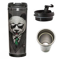 """Термокружка с животными """"Панда в пиджаке"""" на подарок"""