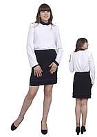 """Блузка детская для девочек М-1069 рост 134 140 146 158 и 164 белая тм """"Попелюшка"""", фото 1"""