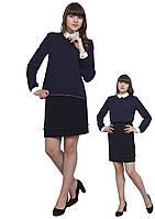 Блузка детская для девочек М-1069 рост  140 146  и 152 синяя, фото 1