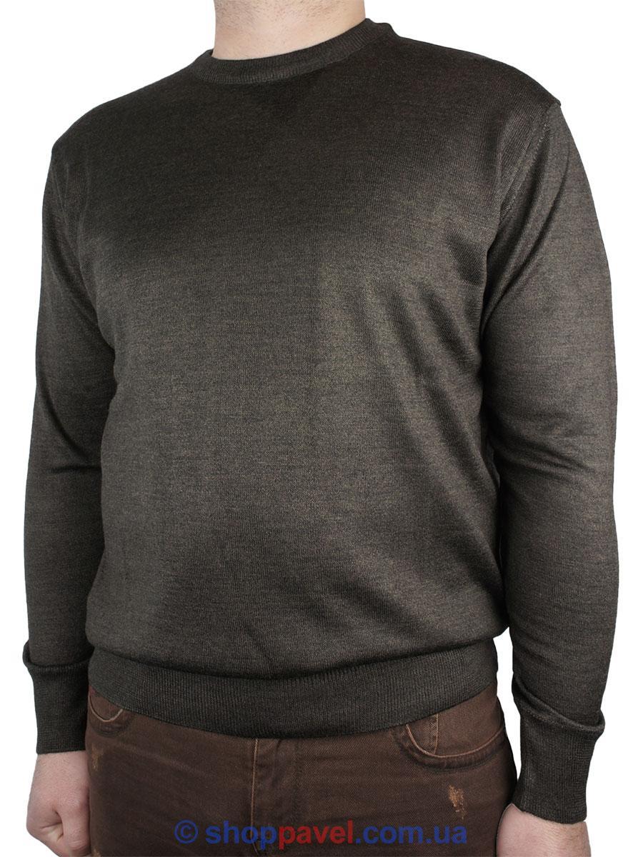 Чоловічий класичний светр Wool Yurt 0250 Н коло в коричневому кольорі