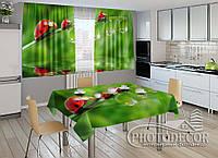 """Фото комплект для кухни """"Божьи коровки""""(шторы 2,0м*2,9м; скатерть 1,45м*1,7м)"""