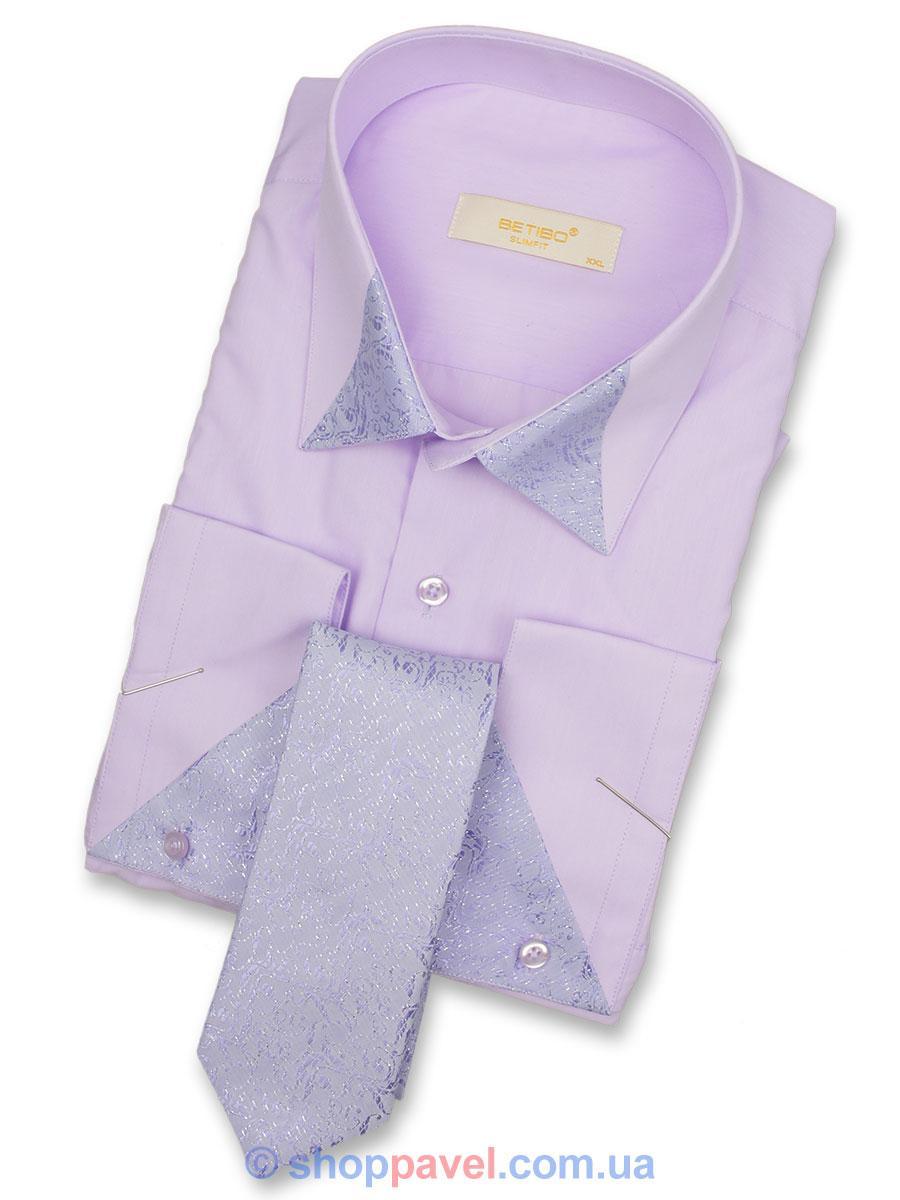 Чоловіча сорочка Negredo 0390 запонка+краватка фіолетового кольору