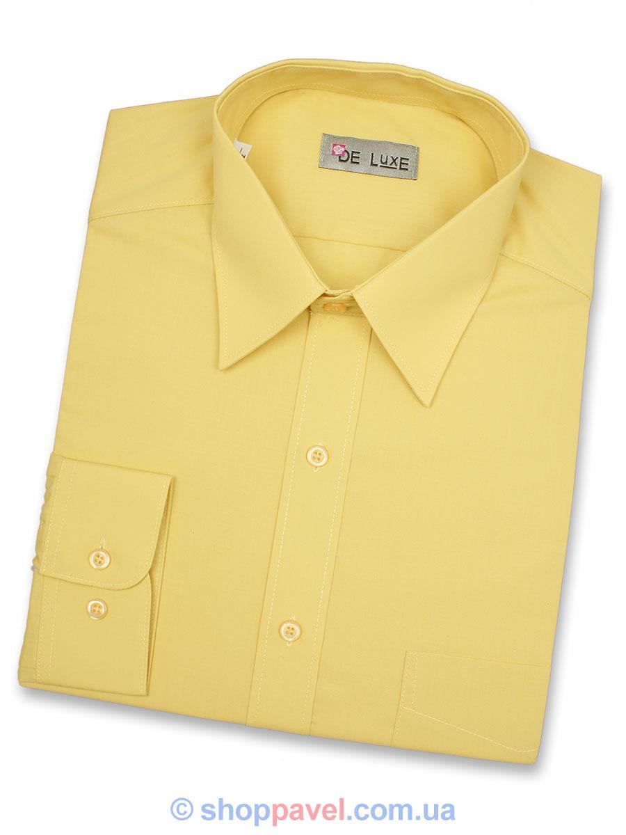 Чоловіча сорочка De Luxe 38-46 д/р 112D жовтого забарвлення