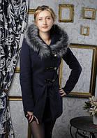 """Стильное женское пальто с мехом VOL ange """"КОБРА"""""""