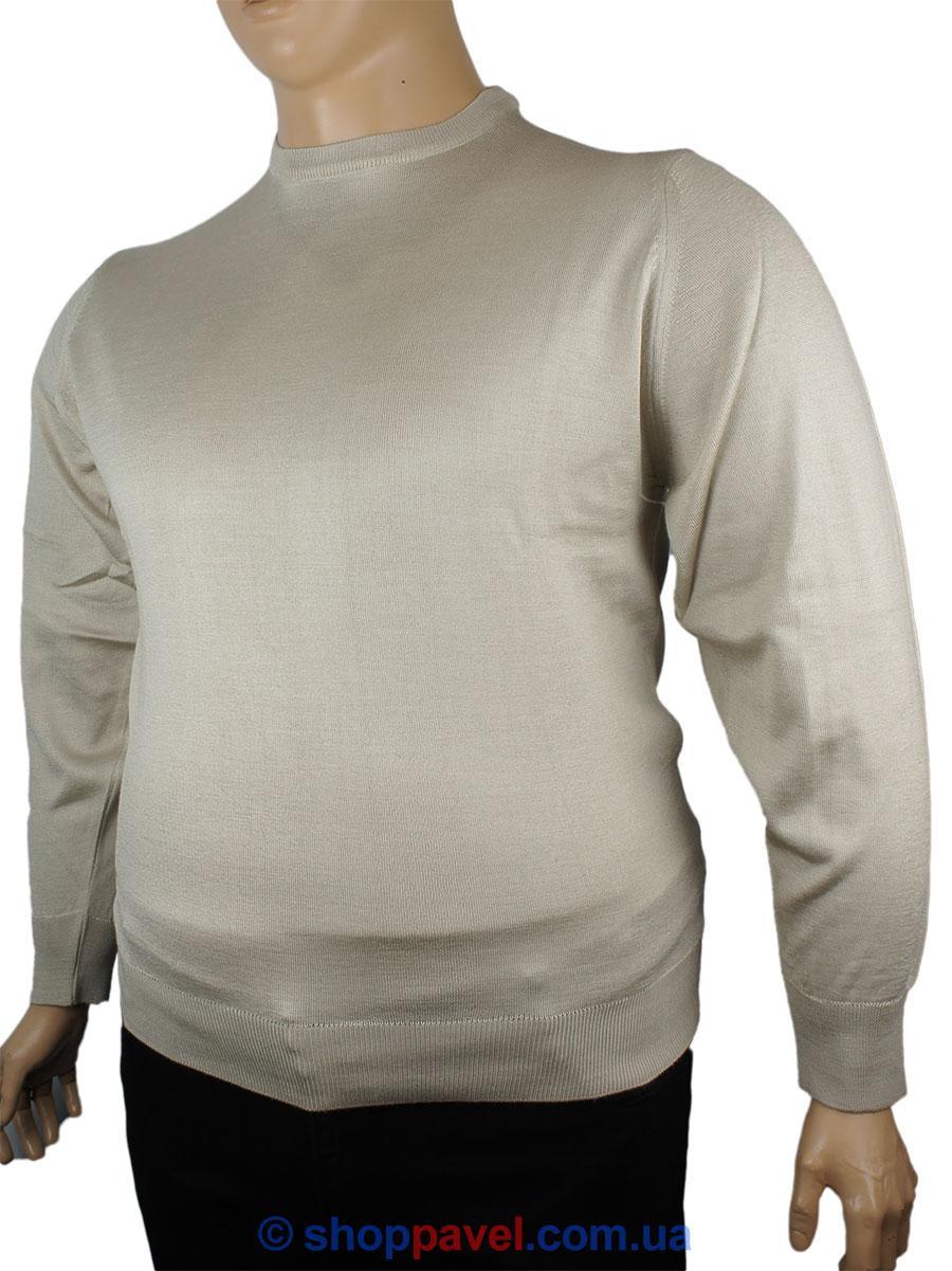 Чоловічий светр Wool Yurt 0380 В коло великого розміру в бежевому кольорі