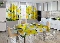 """Фото комплект для кухни """"Нарциссы"""" (шторы 1,5м*2,5м; скатерть 1,0м*1,2м)"""