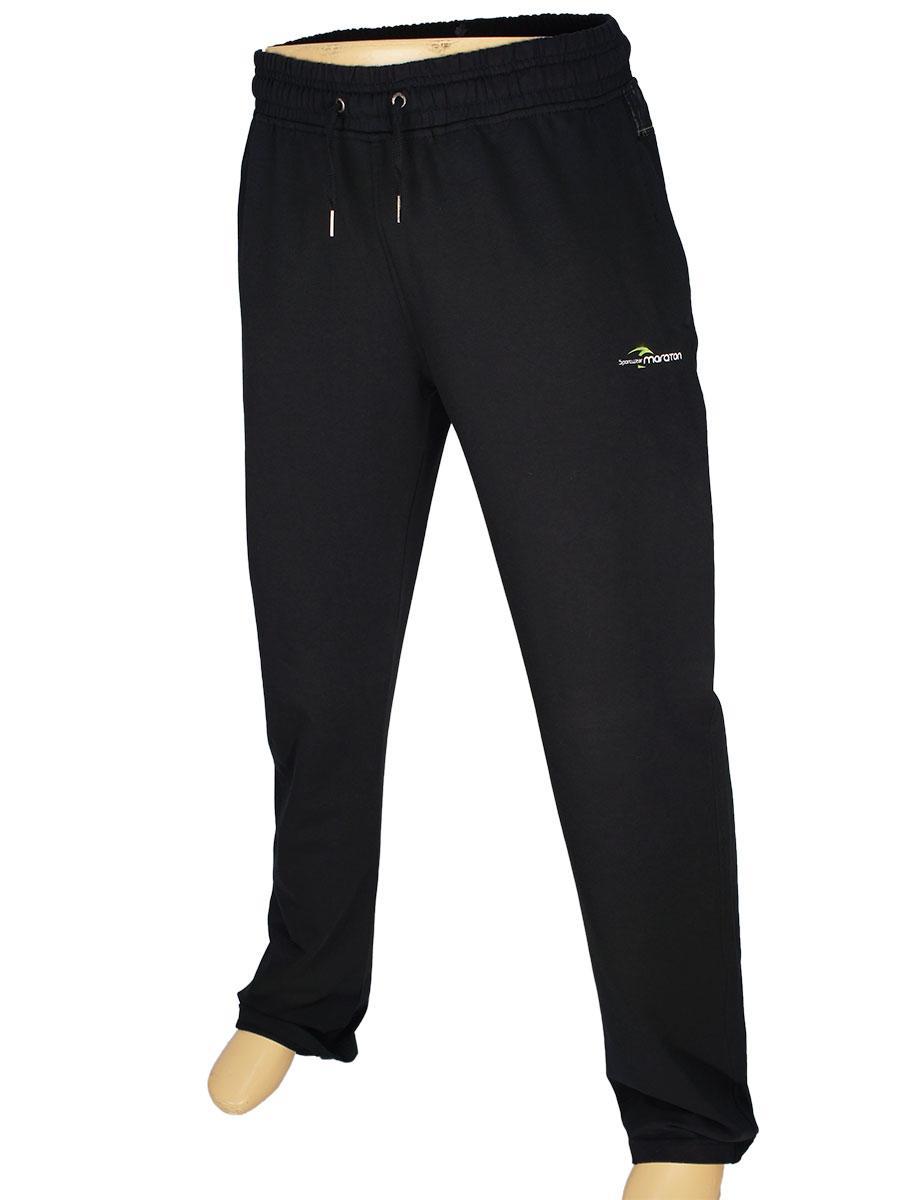 Чоловічі спортивні брюки Maraton М-09-077 H чорного кольору з ярко салатовою вставкою