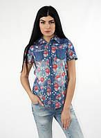Женская джинсовая рубашка в цветочный принт короткий рукав тренд 2017 года