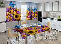 """Фото комплект для кухни """"Весенние цветы и бабочки"""" (шторы 2,0м*2,9м; скатерть 1,45м*1,7м)"""