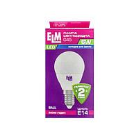 Лампа светодиодная ELM шар G45 6W E14 4000K
