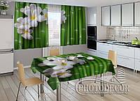 """Фото комплект для кухни """"Бамбук и цветы"""" (шторы 2,0м*2,9м; скатерть 1,45м*1,7м), фото 1"""