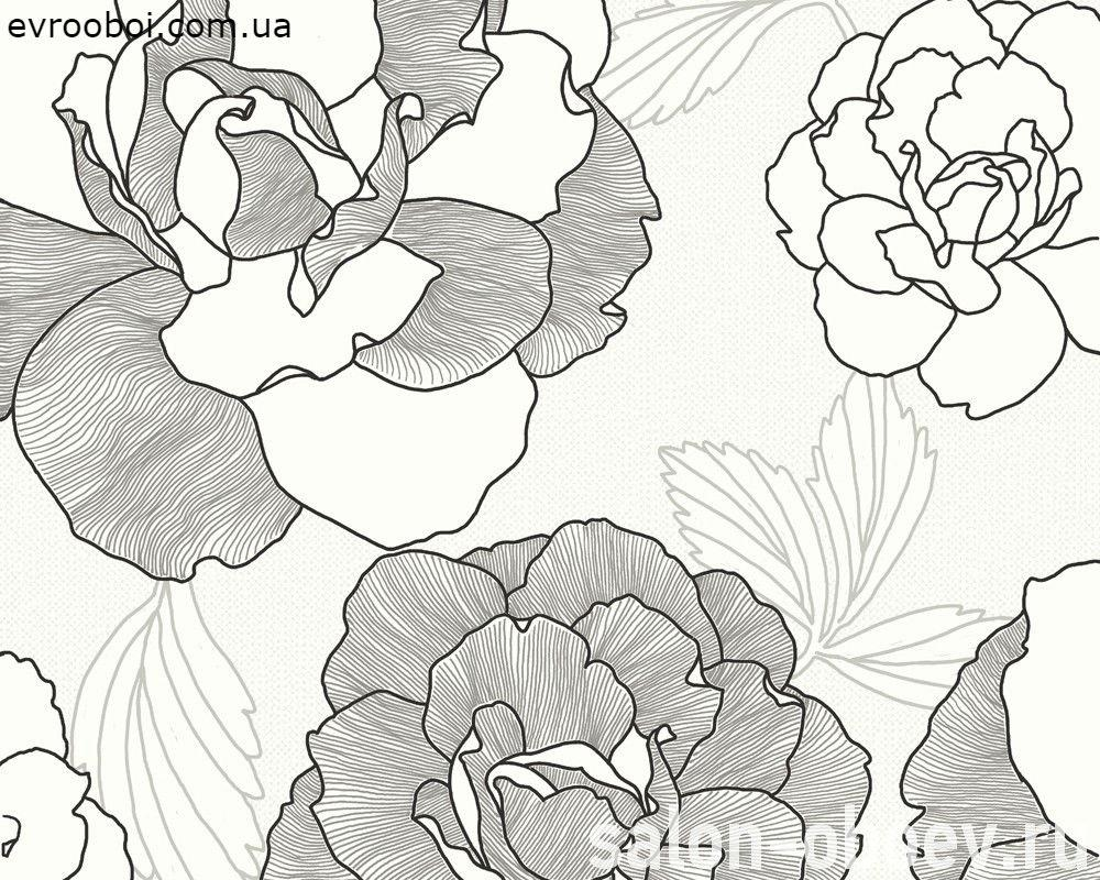 Тисненые немецкие виниловые обои 222114, с большими цветами розы, черный и серый контурный узор на белом фоне