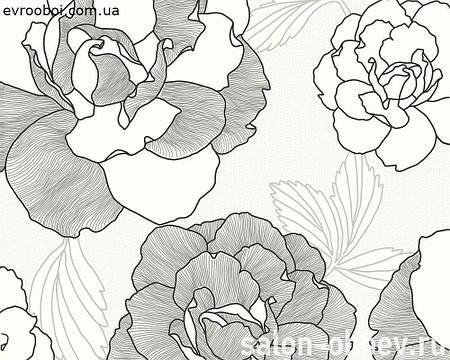 Обои - крупные серые розы на белом 222114.