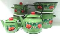 Эмалированный набор кастрюль №134 Яблоко зел. Epos