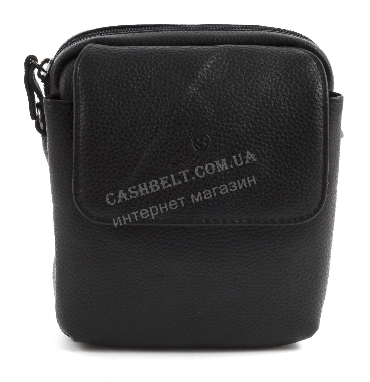 Зручна маленька міцна чоловіча сумка з якісної шкіри PU SAIFILO art. SF2005-1 чорний