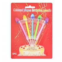 Свечи для торта с цветным пламенем (5шт), на планш. 17*13см (400шт.)