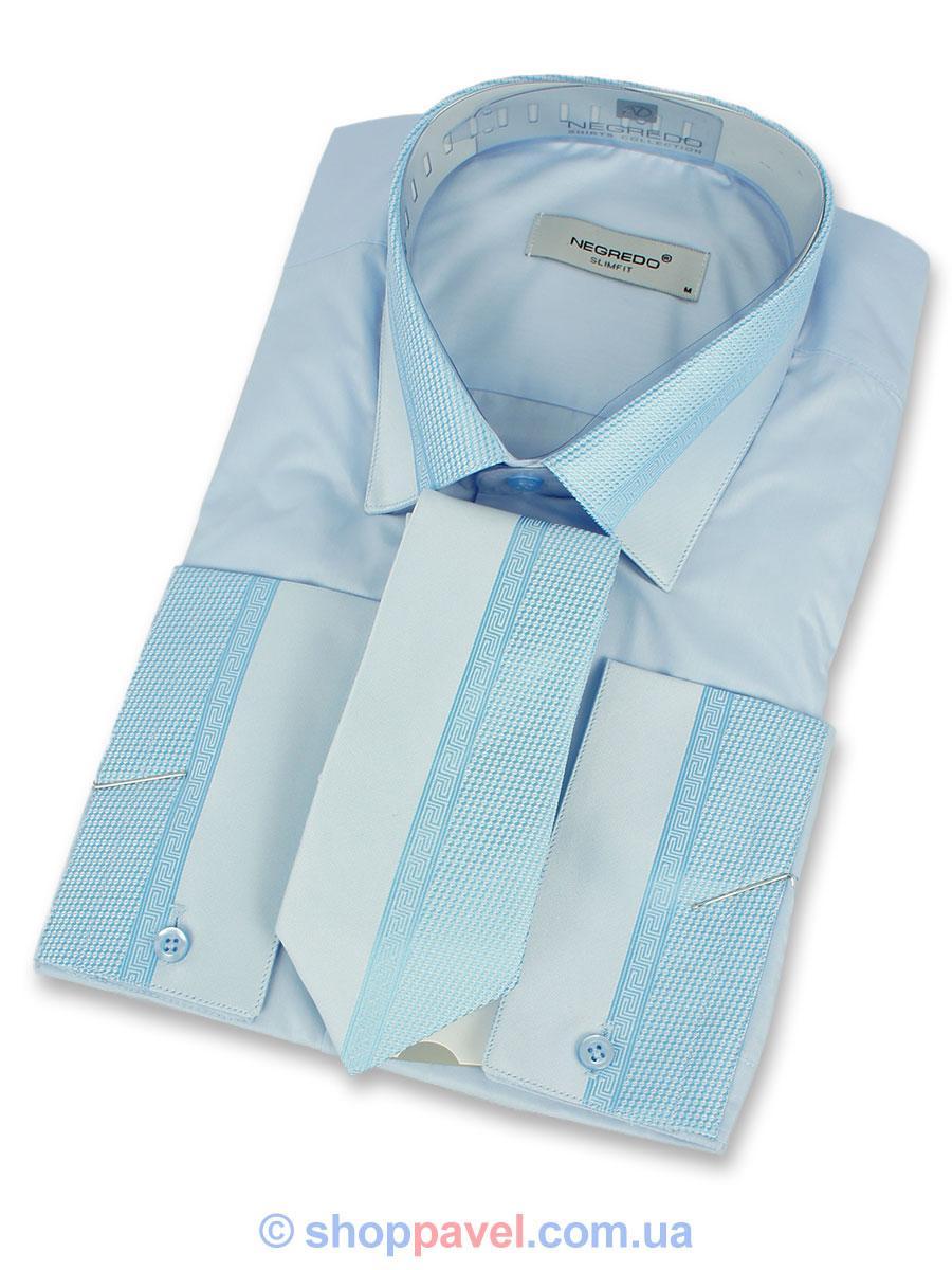 Чоловіча сорочка Negredo 0390 запонка+краватка блакитного кольору