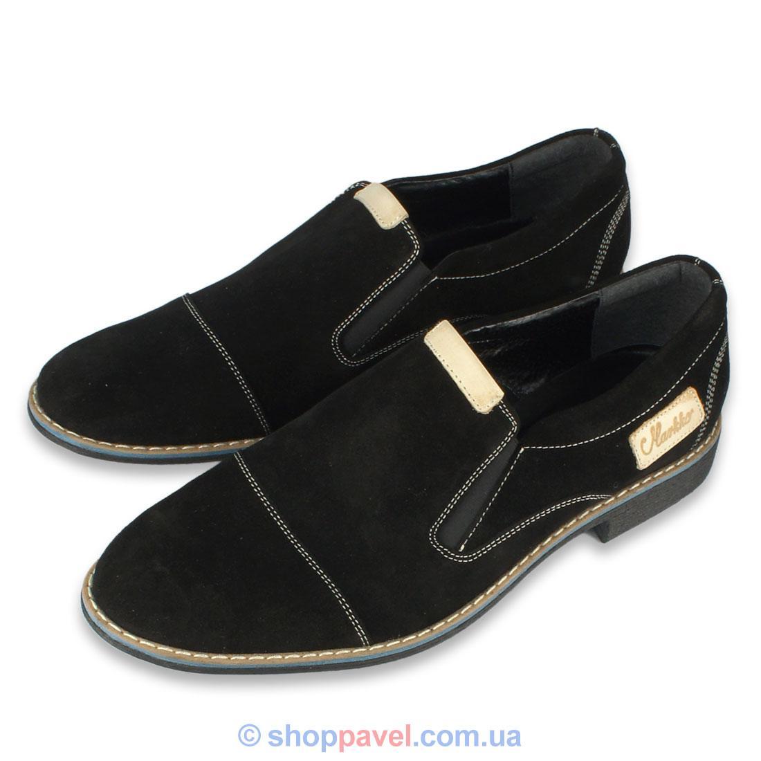 Чоловічі туфлі Markko М-132/N нуб.чорного кольору