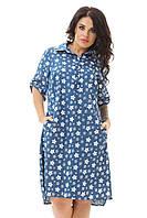 Платье-рубашка джинсовое летнее большого размера 48-54
