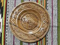 Тарілка сувенірна дерев'яна різьбленна ручної роботи 24-26 см, фото 1