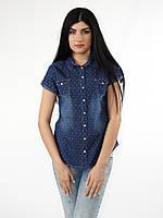 Женская джинсовая рубашка в цветной горошек короткий рукав тренд 2017 года