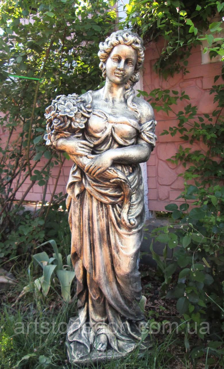 Садовая скульптура Девушки с букетом 120 см бетон