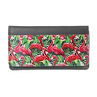 """Кожаный кошелек с принтом """"Фламинго"""""""