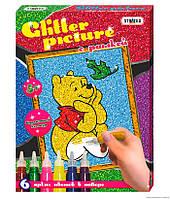 """Картинка из глиттера """"Винни"""" Glitter picture с рамкой"""