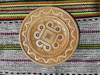 Сувенірна дерев'яна тарілка ручної роботи інкрустована бісером різьбленна 19 см