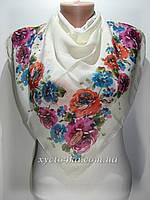 Лёгкий платок на натуральной основе Флора, молочный