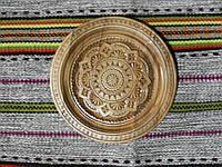 Сувенірна тарілка ручної роботи дерев'яна різьбленна 21-23 см