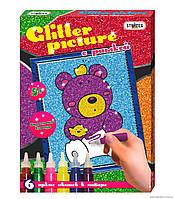 "Картинка из глиттера ""Мишка"" Glitter picture с рамкой"