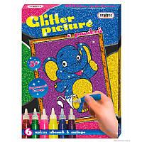 "Картинка из глиттера ""Слоник"" Glitter picture с рамкой"