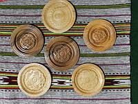 Сувенірна тарілка ручної роботи дерев'яна різьбленна 17 см