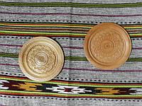 Сувенірна тарілка ручної роботи дерев'яна різьбленна 20-21 см