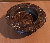 Сувенірна тарілка конфетниця ручної роботи дерев'яна різьбленна з інхрустацією 15 см