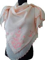 Платок F торжество 100х100, персик с розовой вышивкой