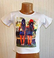 Модная белая футболка топ для девочки. 98-134 см.