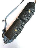 Патронташ кожаный закрытый  двухрядный на 24 патр. (для 12,16 к).
