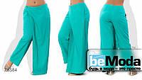 Необычные женские брюки больших размеров из льна с оригинальным запахом бирюзовые