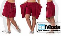 Оригинальные шорты-юбка из льна в больших размерах бордовые