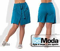 Оригинальные шорты-юбка из льна в больших размерах синие