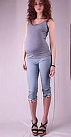 Бриджи для беременных с цветными вставками, джинс и беж 42 лето