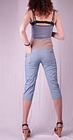 Бриджи для беременных с хлястиками на карманах, джинс и беж 44 лето