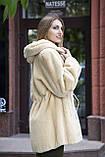 Шуба кожушок з бобра з капюшоном Pearl-color beaver fur coat, flared, фото 2