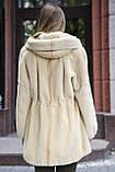 Шуба кожушок з бобра з капюшоном Pearl-color beaver fur coat, flared, фото 3