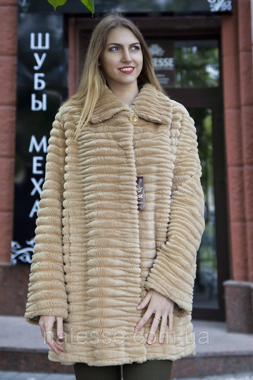 Шуба полушубок из бобра цвета какао  Sheared beaver fur coat fur-coat, фото 1