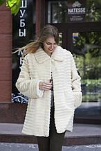Шуба полушубок из стриженого бобра   Pearl-color sheared beaver fur-coat