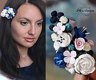"""""""Черничный микс"""" Заколка для волос с цветами из полимерной глины. Лучший подарок девушке, фото 1"""